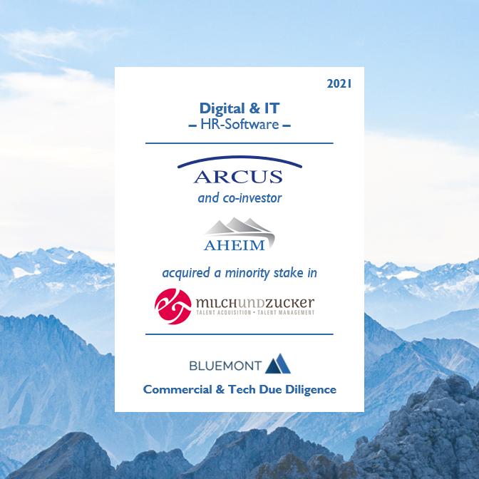Bluemont unterstützt ARCUS Capital und Co-Investor Aheim Capital mit einer Commercial & Tech Due Diligence